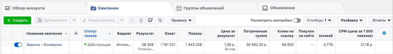Компания в Facebook