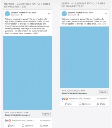 Изменение размеров рекламного объявления в Facebook